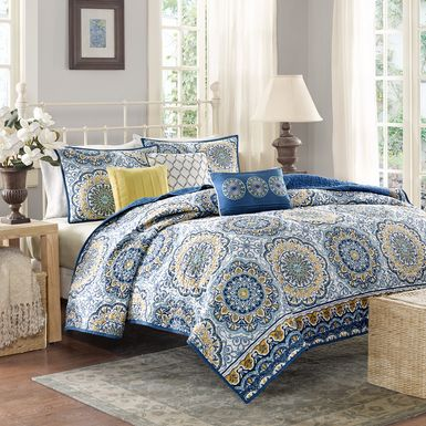 Tangiers Blue 6 Pc Queen Coverlet Set