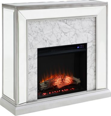 Tarryhollow IV Silver 44 in. Console With Electric Fireplace