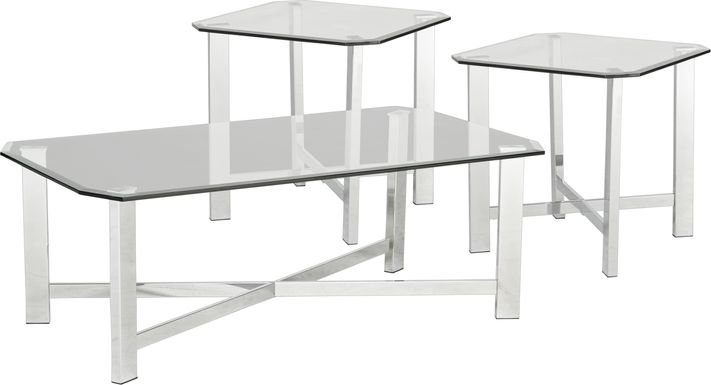 Teagan Chrome 3 Pc Table Set
