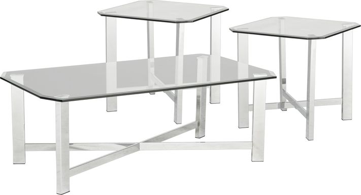 Teagan Chrome 3 Pc Table Set