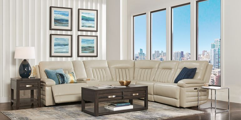 Terenzo Beige Leather 6 Pc Dual Power Reclining Sectional