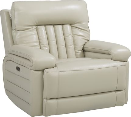 Terenzo Beige Leather Dual Power Recliner