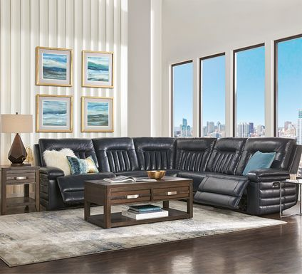 Terenzo Blue Leather 6 Pc Dual Power Reclining Sectional