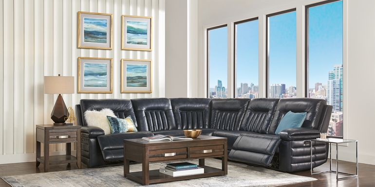 Terenzo Blue Leather 9 Pc Dual Power Reclining Sectional Living Room