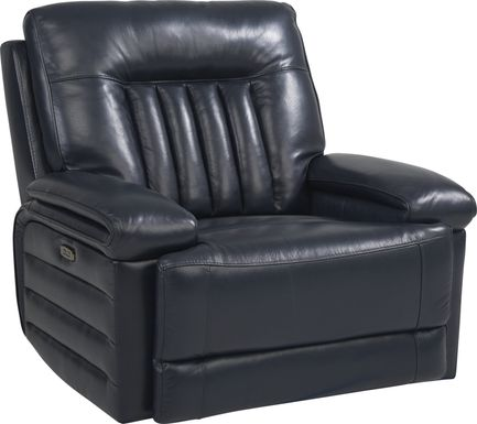 Terenzo Blue Leather Dual Power Recliner