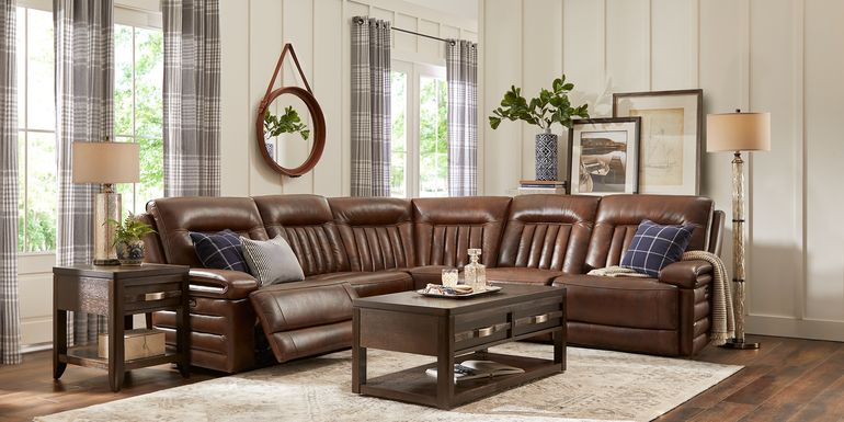 Terenzo Brown Leather 5 Pc Dual Power Reclining Sectional