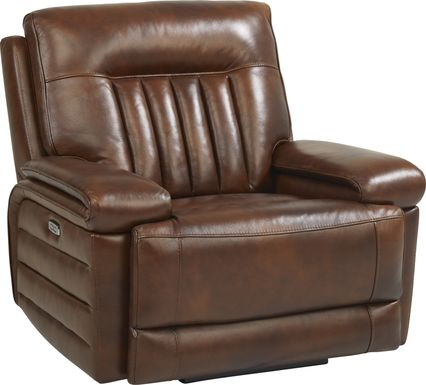 Terenzo Brown Leather Dual Power Recliner