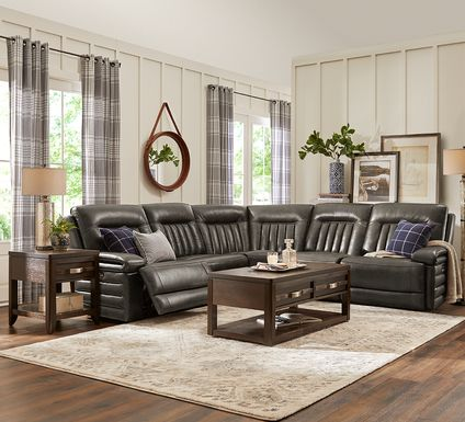 Terenzo Gray Leather 5 Pc Dual Power Reclining Sectional