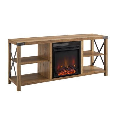 Tomanet Brown 60 in. Console With Electric Fireplace