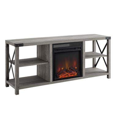 Tomanet Gray 60 in. Console With Electric Fireplace