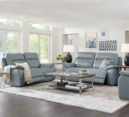 Torini Blue Leather 2 Pc Reclining Living Room