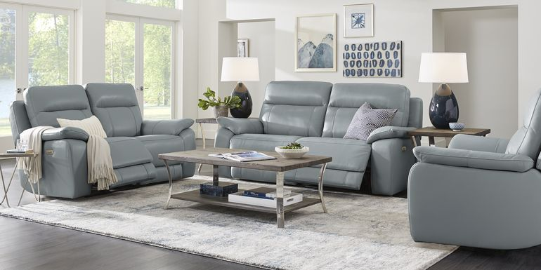 Torini Blue Leather 3 Pc Power Reclining Living Room