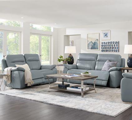 Torini Blue Leather 3 Pc Reclining Living Room