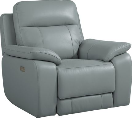 Torini Blue Leather Power Recliner