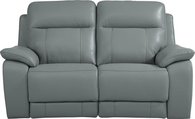 Torini Blue Leather Power Reclining Loveseat