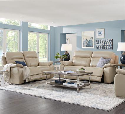 Torini Cream Leather 2 Pc Reclining Living Room