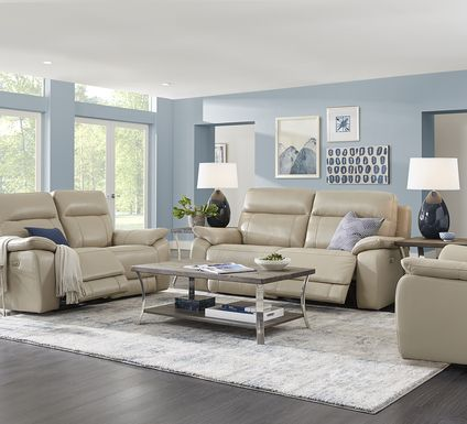 Torini Cream Leather 3 Pc Power Reclining Living Room