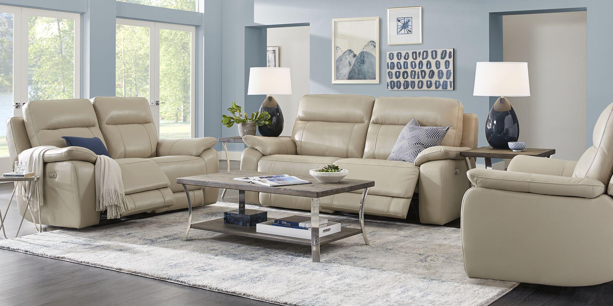 Torini Cream Leather 3 Pc Power Reclining Living Room