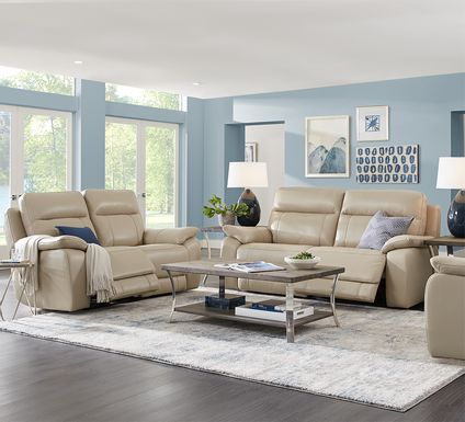 Torini Cream Leather 3 Pc Reclining Living Room