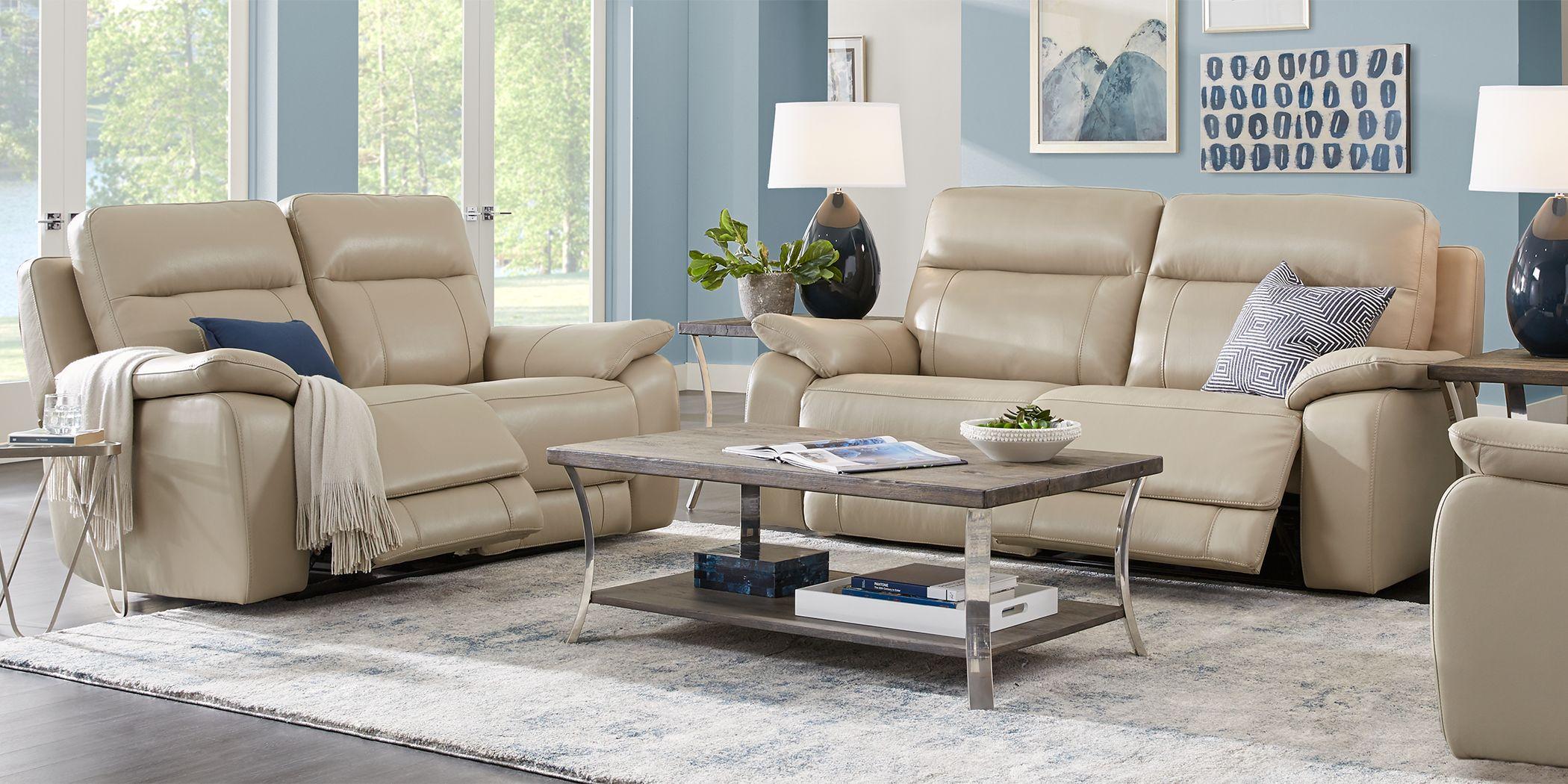 Torini Cream Leather 3 Pc Reclining Living Room