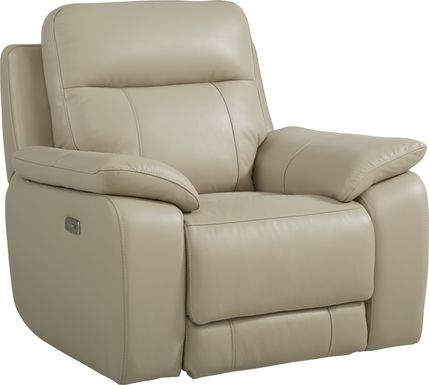 Torini Cream Leather Power Recliner