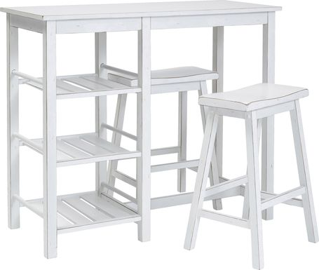 Torney White 3 Pc Counter Height Table Set