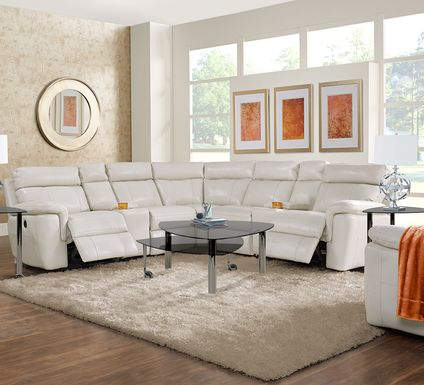Trafalgar Square Ivory Leather 10 Pc Power Reclining Sectional Living Room