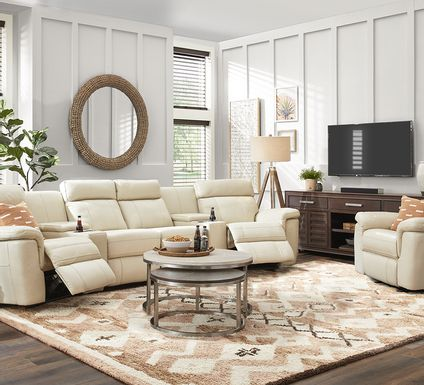 Trafalgar Square Ivory Leather 6 Pc Reclining Sectional