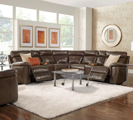 Trafalgar Square Mahogany Leather 10 Pc Power Reclining Sectional Living Room