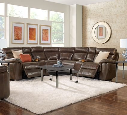 Trafalgar Square Mahogany Leather 10 Pc Reclining Sectional Living Room
