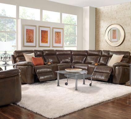 Trafalgar Square Mahogany Leather 7 Pc Reclining Sectional