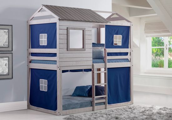 Treeline Cabin Gray Twin/Twin Jr. Loft Bed with Blue Tent