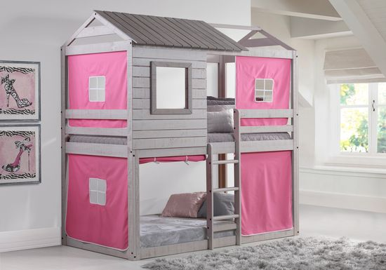 Treeline Cabin Gray Twin/Twin Jr. Loft Bed with Pink Tent