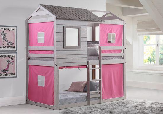 Treeline Cabin Gray Twin/Twin Jr. Loft Bed with Pink Tent