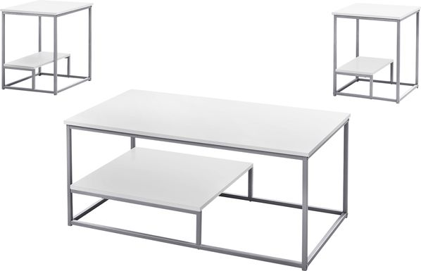 Trendal White 3 Pc Table Set