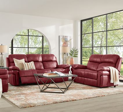 Trevino Place Burgundy Leather 3 Pc Living Room with Reclining Sofa