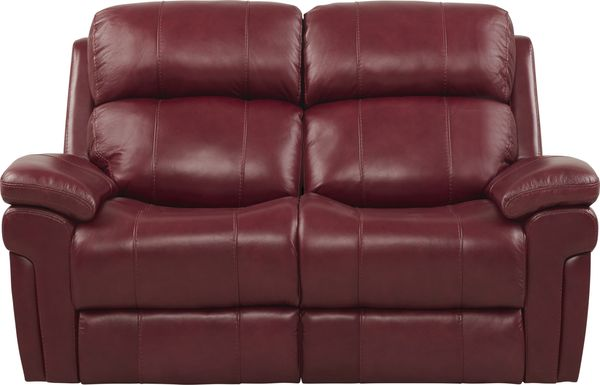 Trevino Place Burgundy Leather Loveseat