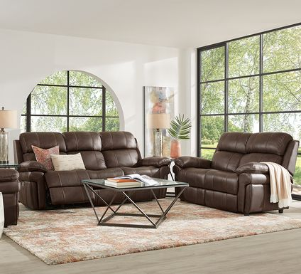 Trevino Place Chocolate Leather 3 Pc Living Room with Reclining Sofa