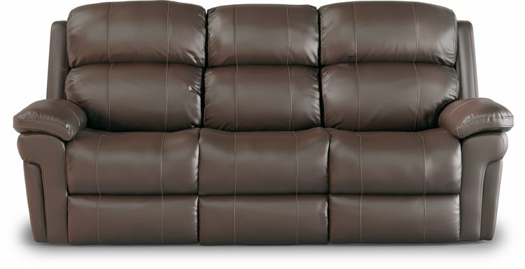 Trevino Place Chocolate Leather Dual Power Reclining Sofa