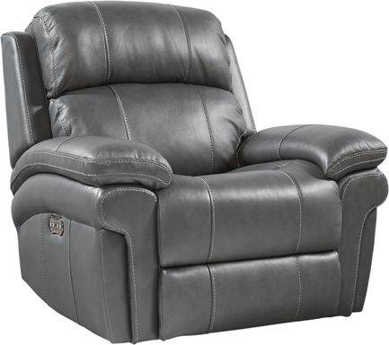 Trevino Place Smoke Leather Dual Power Recliner