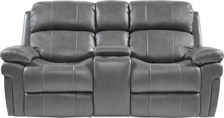 Trevino Place Smoke Leather Dual Power Reclining Console Loveseat