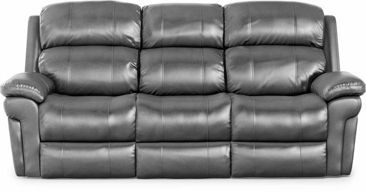 Trevino Place Smoke Leather Dual Power Reclining Sofa