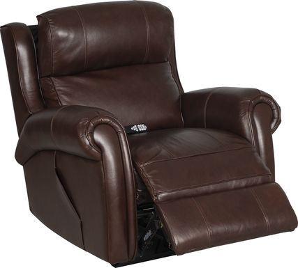 Treyton Brown Leather Dual Power Recliner
