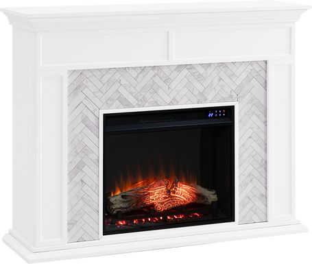 Tronewood IV White 50 in. Console With Electric Fireplace