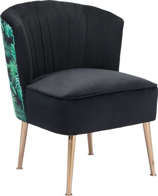 Tropical Forest Black Accent Chair