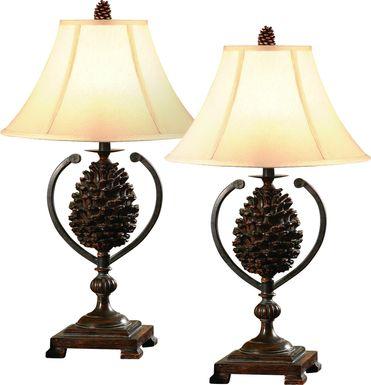 True Pine Brown Set of 2 Lamps
