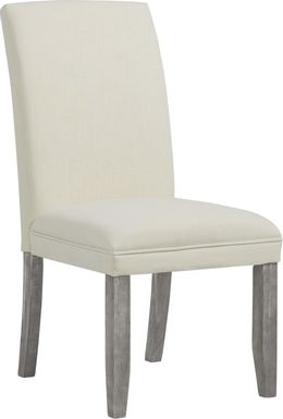 Tulip White Side Chair with Gray Legs