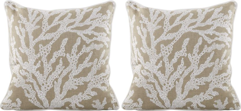 Coral Sand Beige Indoor/Outdoor Accent Pillow, Set of Two