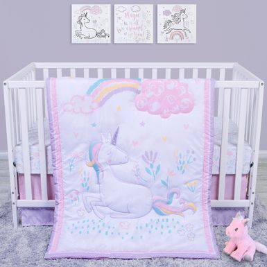 Unicorn Land White 4 Pc Baby Bedding Set