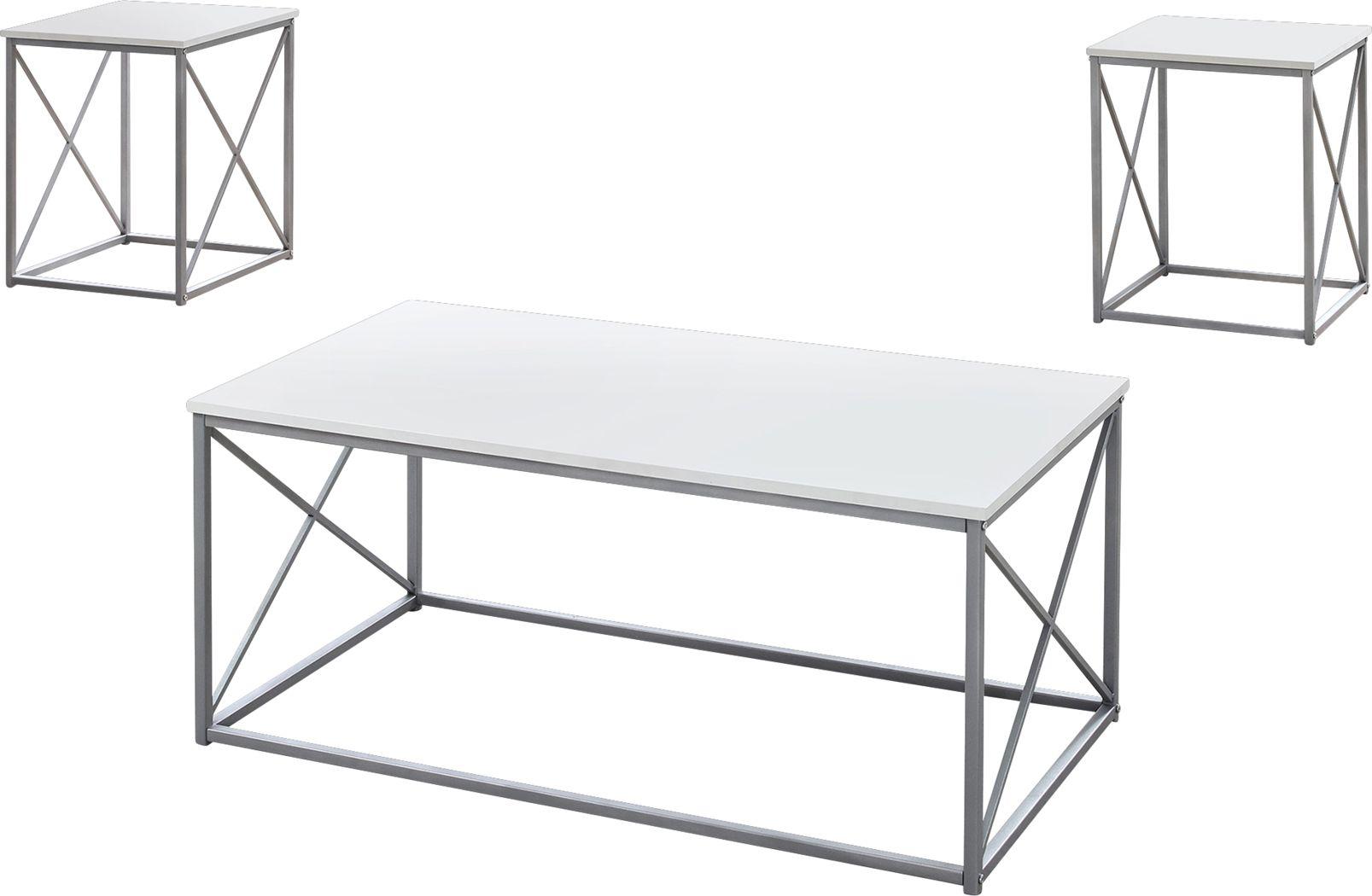 Valburn White 3 Pc Table Set